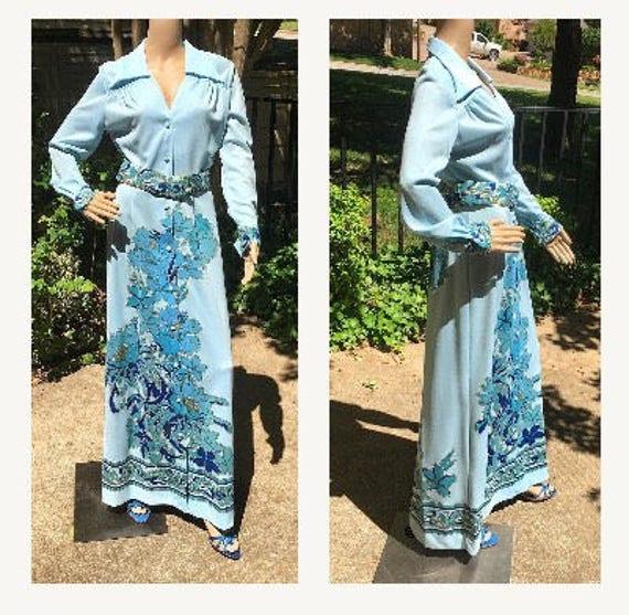 Alfred Shaheen Dress Vintage 70s Designer Alfred S