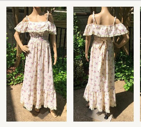 Vintage Ruffled Peasant Floral Dress Cottagecore 6