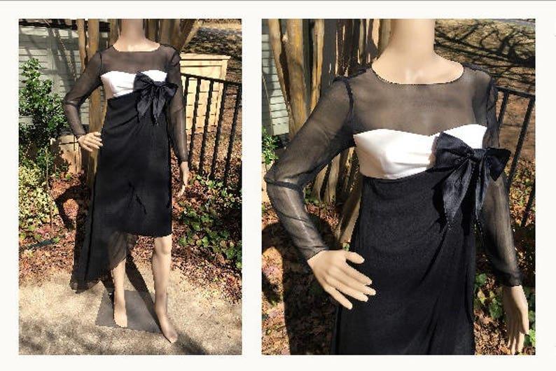 de6380246ba Bill Blass Dress Designer Vintage 80s Black White Sheer Silk