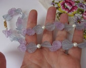 Vintage Frosted Lucite Pastel Flower Necklace with Frosted Blue Flowers, Lilac Morning Glory Flowers, Faux Pearls, 18 quot from Avon 1986