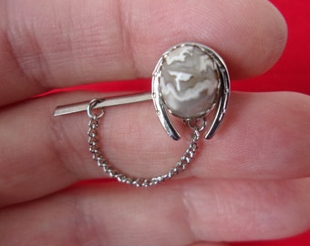 7134d49cd3ab Vintage Silver Horseshoe Tie Pin Tie Tack with Natural Grey & White Jasper  Stone, Equestrian Horse Lover Tie Pin Cowboy Tie Tack