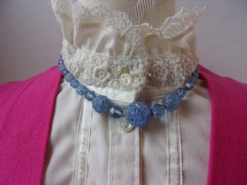 Light Baby Blue Czech Glass Beads 16.5 Antique Art Deco Era Beaded Necklace All Glass Beads Berry Shaped Antique Art Deco Glass Beads