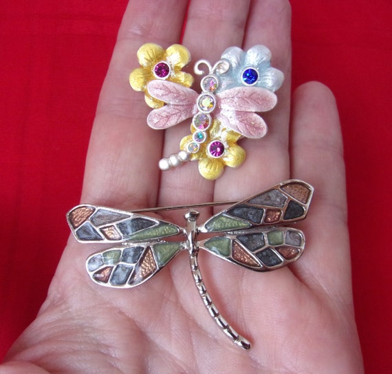 small insect pin vintage enameled silver pin blue green vintage Chinese 925 sterling silver enameled dragonfly brooch pin gift for her