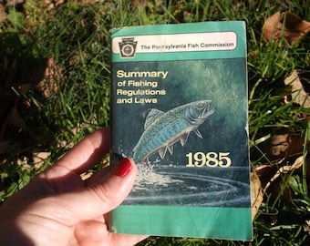 Fishing Regulations and Laws from Pennsylvania Fishing Commission 1985, Vintage Fishing and Fish Lure info