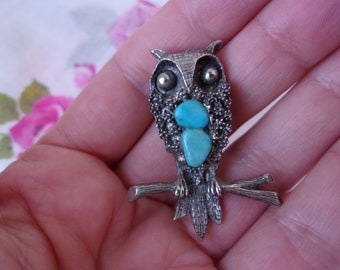 Vintage Owl Pin Brooch with 2 Turquoise Stones, Hippie Boho Silver Tone 60s 70s Owl on a Branch Pin Brooch