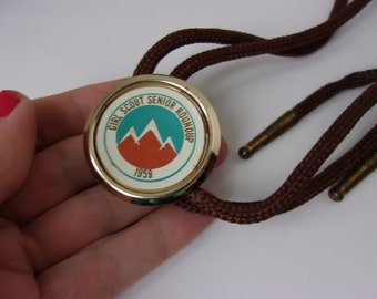 Vintage 1950s Girl Scout Tie, 1959 Girl Scout Bolo Tie, Girl Scout Senior Roundup 1959, Old Girl Scout Item