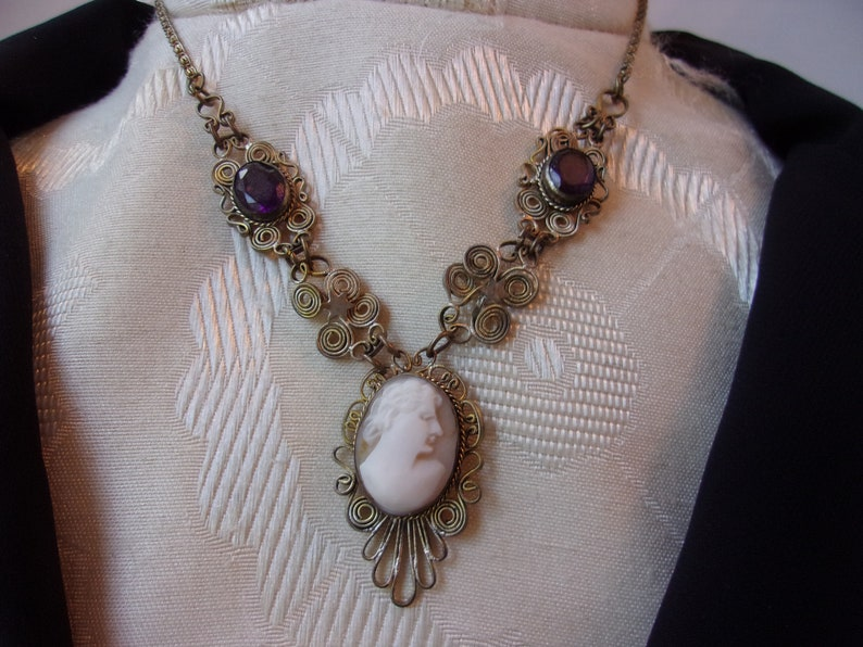 Exquisite Antique Victorian Era Necklace Bracelet Jewelry Set Antique Silesian Wire Wrap Carved Shell Angel Skin Coral and Purple Stone Set