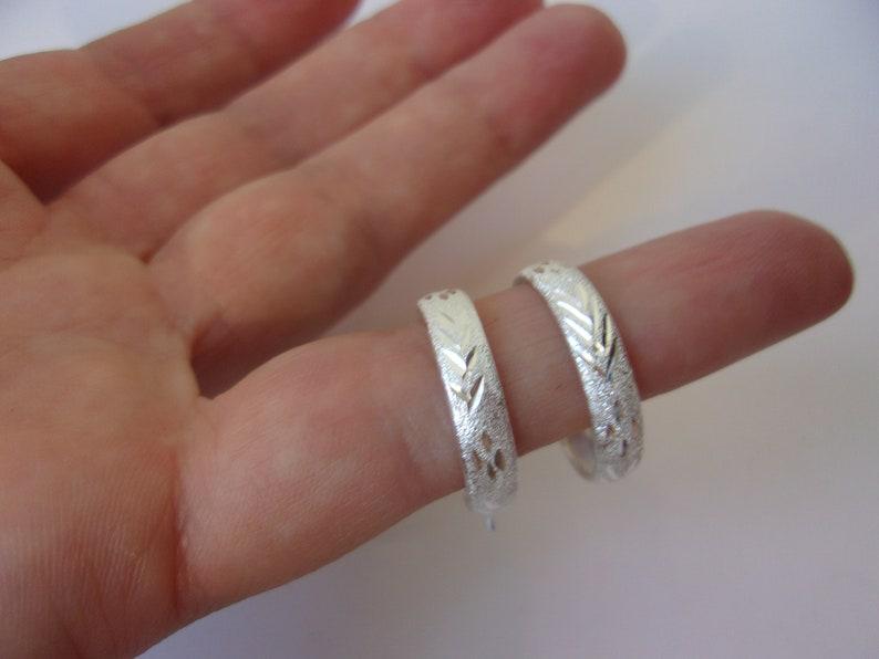 Vintage Sterling Silver Hoop Earrings Beautiful Textured Etched Design Sterling Silver Hoops Pierced Self Closing Posts