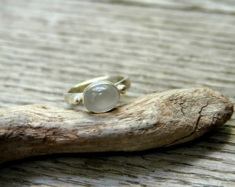 Handmade Sterling Silver Ring with Moonstone Setting -  MADE TO ORDER