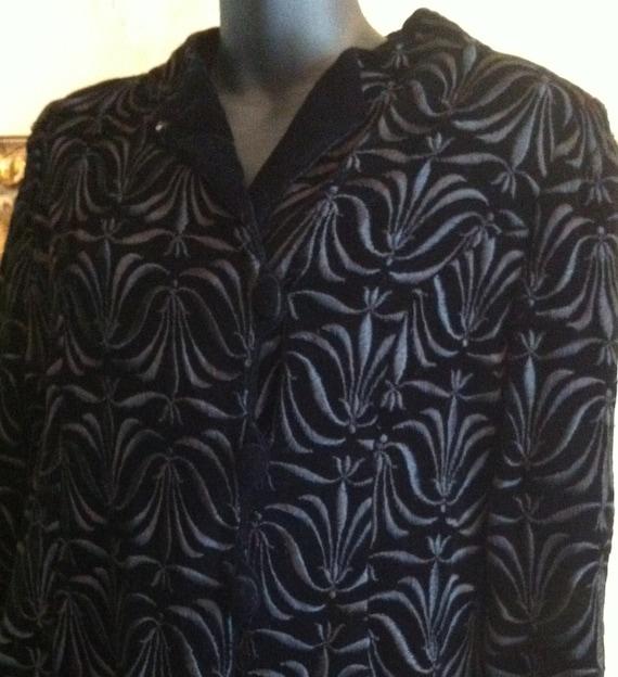 60s black velvet coat