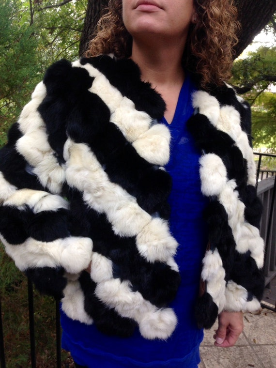Vintage 80s fur black and white jacket