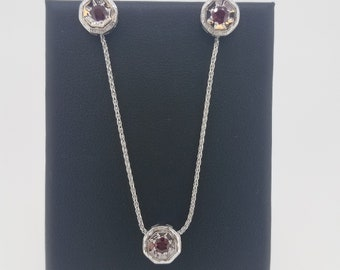 14K White Gold Ruby Necklace and Earrings Set