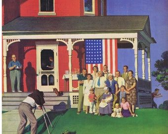 1952 JOHN FALTER Family American Flag Dachshund Saturday Evening Post Cover Only