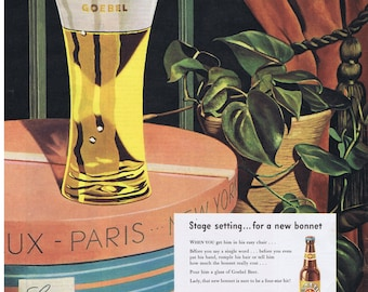 1947 GOEBEL BEER Brewing Company Ladie's Hat Box Paris Philodendron Plant Bribe Him with Beer Print Ad