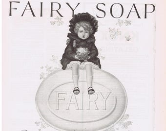 Fairy Soap N.K. Fairbank Girl with Bouquet of Flowers 1923 Print Ad