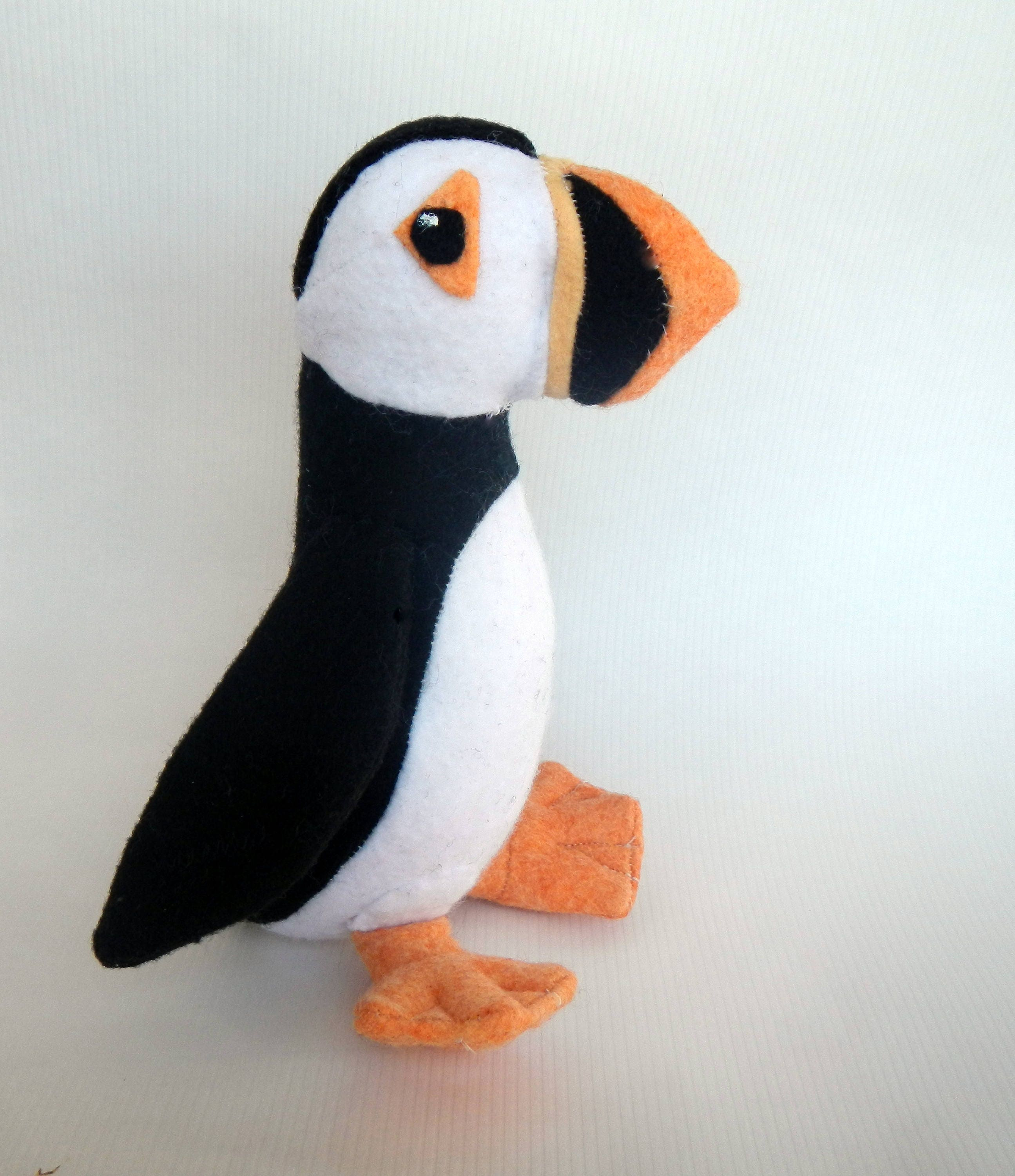 Puffin Sewing Pattern-toy-softie-bird-6-9 inches tall-made with ...