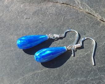 Intense Blue Opal Drop Earrings 7x18mm A-Cut set on 925 Sterling Silver