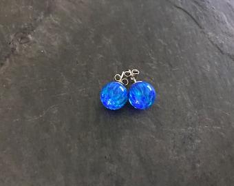 10mm Intense Blue Opal Stud Earrings set on Sterling Silver