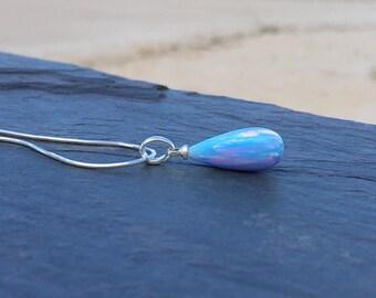 Blue Fire Opal Pendant 8 x 18mm on 925 Sterling Silver