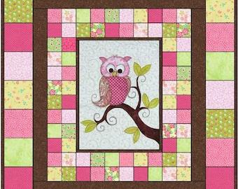 0f7d9eea61d6 Baby Owl Quilt Pattern PDF    Owl Quilt Pattern PDF    Baby shower Gift    Appliqué  Pattern    Child s Quilt Pattern    Twin Quilt Pattern