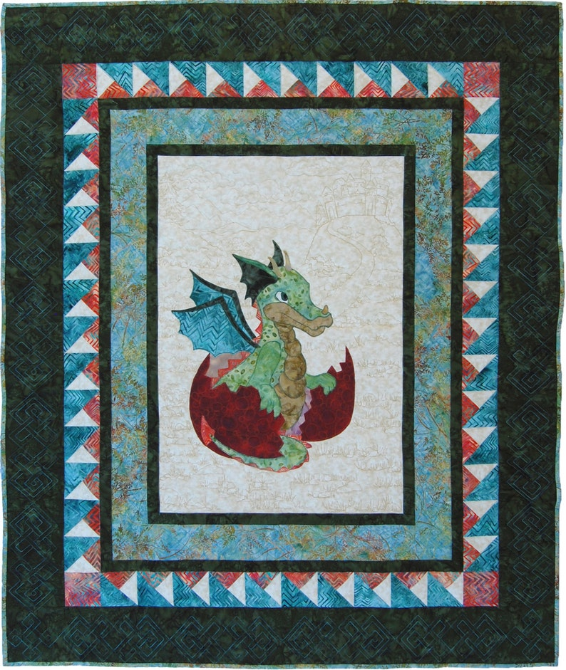 Baby Quilt Pattern PDF // Dragon Quilt // Baby Shower Gift, Baby Boy Quilt  Pattern, Appliqué Dragon Pattern, Dragon Wallhanging Pattern