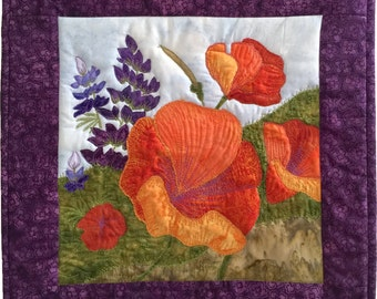 Quilt Pattern PDF //Poppies and Lupine Mini Quilt Pattern // Art Quilt Pattern // Wallhanging Pattern // Fall Pattern // Autumn Pattern