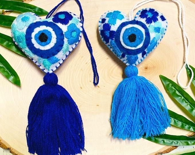 Embroidered Evil Eye Tassel, Evil Eye Heart Tassel Keychain, Evil Eye Bag Charm, Handmade Tassel Keychain, Evil Eye Purse Tassel