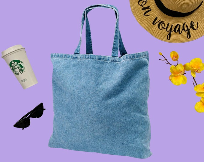 Denim Tote Bag, Heavy Cotton Tote Bag, Jeans Tote, Reusable Market Bag, Beach Bag, Cute Tote Bag, Eco-Friendly Shopping Bag, Gift for Her