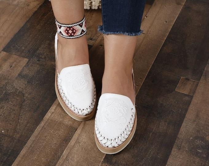 Leather mexican sandals, Leather Huarache Slip-ons,  Handmade Flats, Mexican Artisan Huarache, Authentic Handmade Flats, Floral Huarache