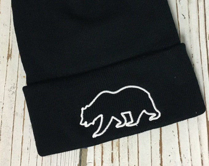 CALIFORNIA BEAR OUTLINE Embroidered Beanie Cuffed Cap - Multiple Colors
