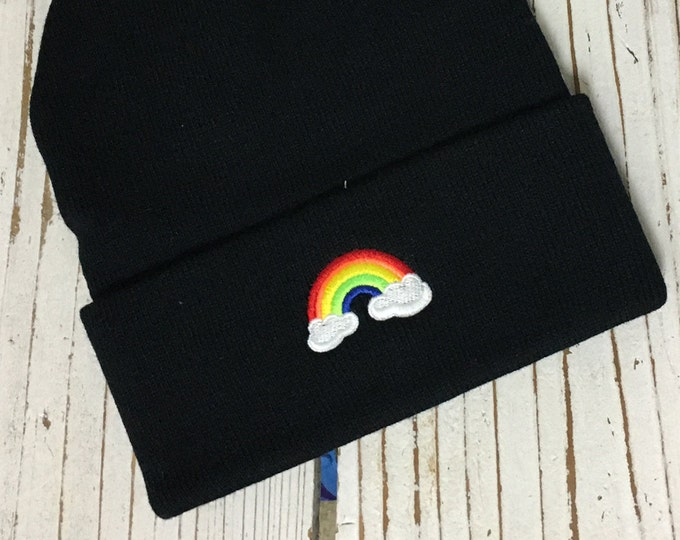 RAINBOW Embroidered Beanie Cuffed Cap - Multiple Colors