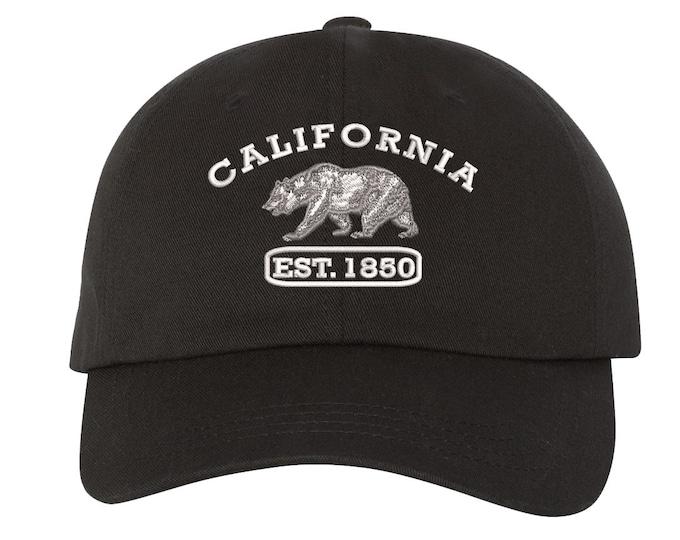 CALI BEAR EST. 1850 Dad Hat, California Republic Bear Baseball Cap, West Coast, West side Dad Hat, Sun Hat, Beach Hat, Cali Bear Flag, Black