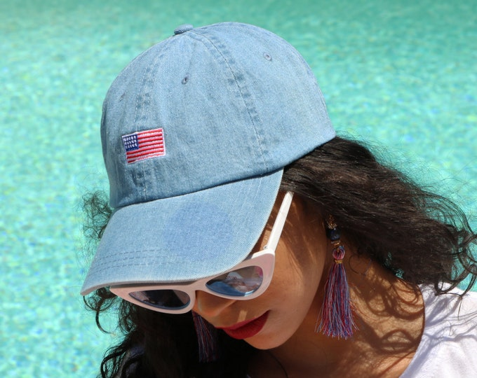 Labor Day USA Flag Dad Hat US FLAG Dad Hat Independence Day Fourth of July Red White Blue American Cap Memorial Day Dad Hat Labor Day Hat