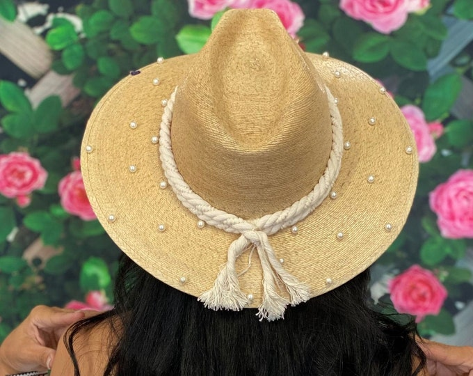 Pearl Embellished Panama Straw Hat, Pearl Decorated Hat, Gambler Straw Hat, Straw Palm Hat, Women's Sun Hat, Pearl Summer Hat