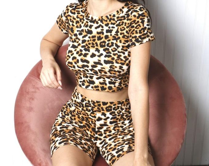 Leopard Print Crop Top and Biker Short Set , Two-Piece Leopard Set, Womens Crop Top and Shorts Set, Biker Shorts , Loungewear 2-Piece Set