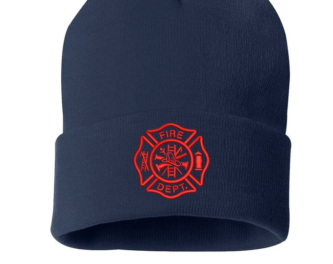 Fireman Skull Beanie Hat, Winter Hat Fire Department Cap, Embroidered Beanie Cuffed Cap, Messy Bun Beanie, Slouch Beanie Firefighter Beanies