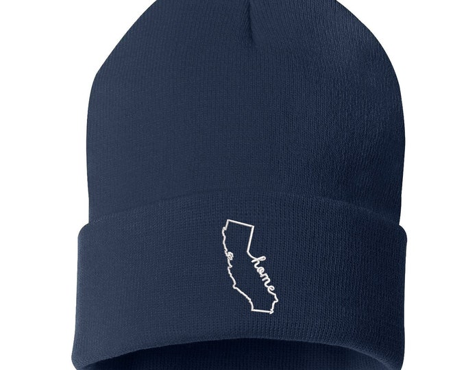 Cali Home Outline Unisex Beanie Hat, Cali Home Beanie, California Beanie, Embroidered Beanie, California State, Gifts for Her, Gifts For Him
