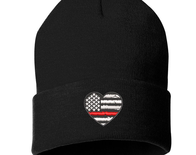 Firefighter Heart Unisex Cuffed Beanie, Embroidered Beanie, Thin Red Line Beanie, Fireman Pride, Fire Department Love, Firefighter Pride