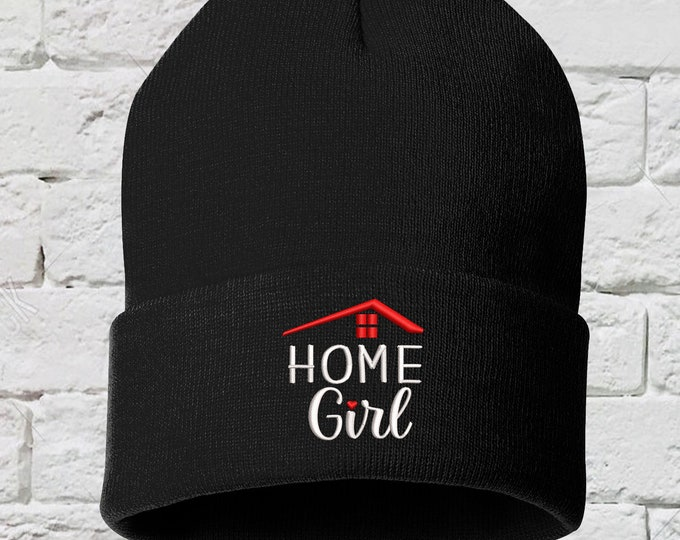 Home Girl Beanie Hat, Realtor Beanie, Embroidered Beanie Hat, Gifts for Her, Real Estate Agent Hat, This Girl Sells Houses Hat, Realtor Gift