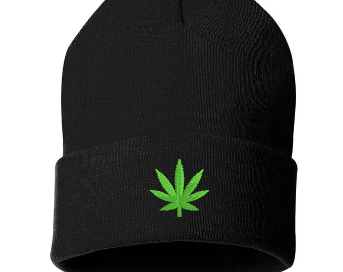 Weed Unisex Cuffed Beanie Hat, Weed Leaf Beanie, Embroidered Beanie, Gifts for Her, Gifts for Him, Weed Beanie, 420 Beanie, Marijuana Beanie