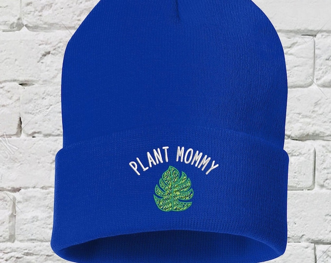 Plant Mommy Washed Baseball Beanie, Plant Mom Hat, Embroidered Beanie, Plant Mommy, Gift for Her, Plant Parent Hat, Plant Mom beanie Hat