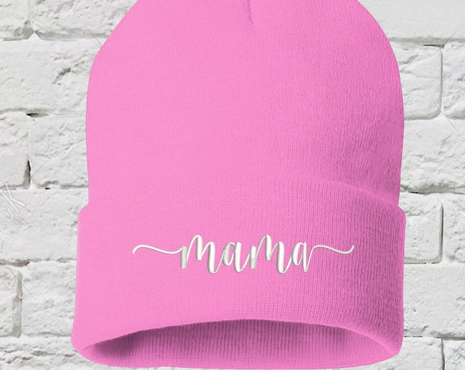 Mama Cuffed Beanie Hat, Embroidered Beanie, Mom Hat, Mom Beanie, Gift for Her, Mothers Day, Mothers Day Gift, Pregnancy Announcement