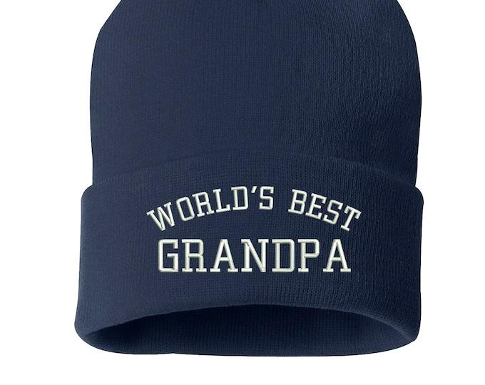 Worlds Best Grandpa Beanie Hat, Winter Hat, Grandpa Cap, Embroidered Beanie Cuffed Cap, Messy Bun Beanie, Gift for grandpa Slouch Beanie