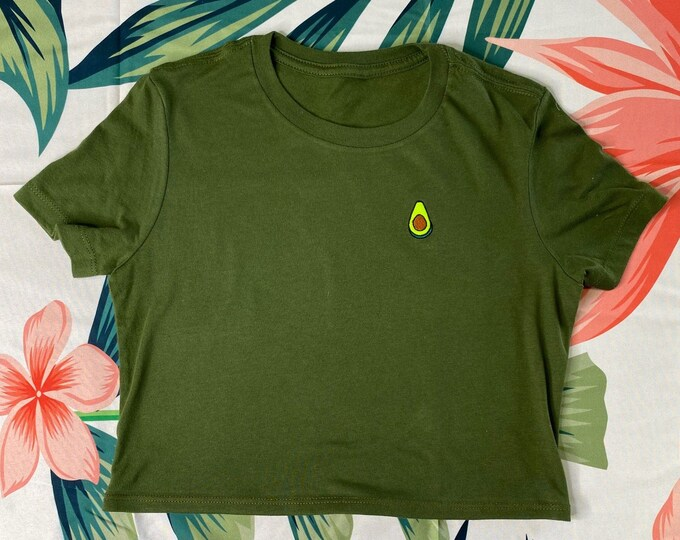 Avocado Crop Top Happy Vibes Tshirt, Festival Clothing, Guac Grunge Top, Summer Outfits, Avocado Lover Crop Tops Yoga Cropped Top