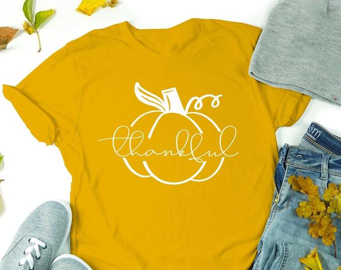 Thankful T-shirt, Pumpkin Fall Shirt Women Crewneck Tee,  Fall Season Tee, Matching Couples Tshirt, Unisex Shirts, Autumn Tshirts