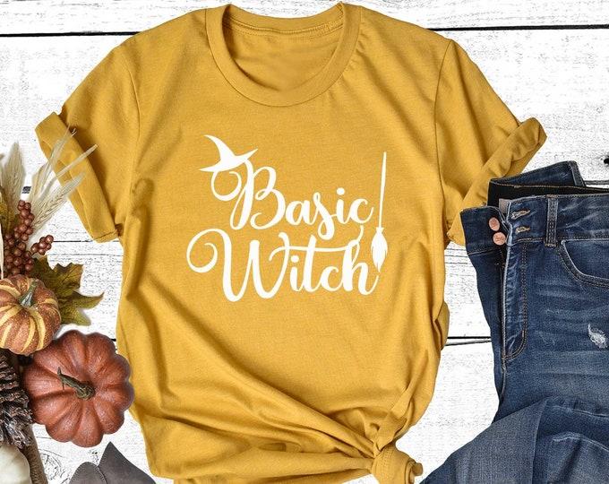 Basic Witch T-shirt Fall Shirt Women Short Sleeve Crewneck Halloween Tee Witch Costume shirt for Halloween MenTshirt Unisex Shirts