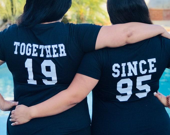 Custom T-shirt, Together Since Shirt, Women Crewneck Tee, Daddy & Me Tshirts, Matching Couples Tshirt, Unisex Shirts, Thanksgiving Tshirts