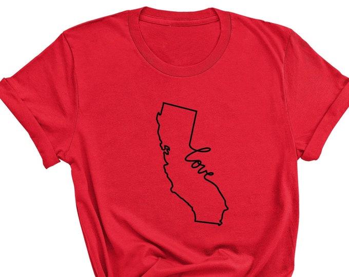 Unisex California Love Tshirt, Unisex Crewneck, California Tshirt, Oversized Tshirt, State Tshirt, Scoop neck Tee, Printed Tee