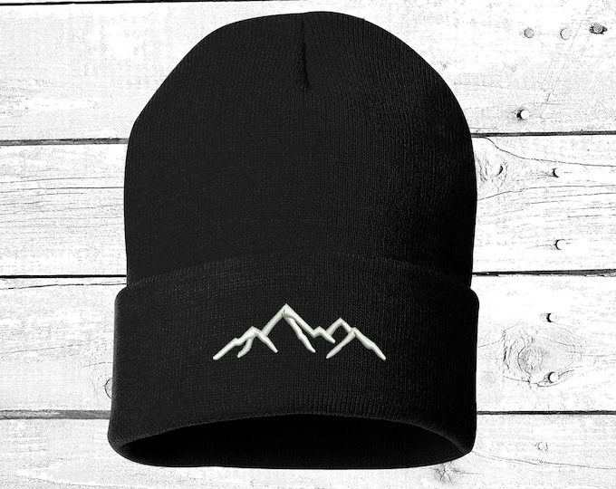 Winter Hat Mountains Embroidered Beanie Cuffed Cap, Unisex, Messy Bun Beanie Slouch Beanie, Funny Gift