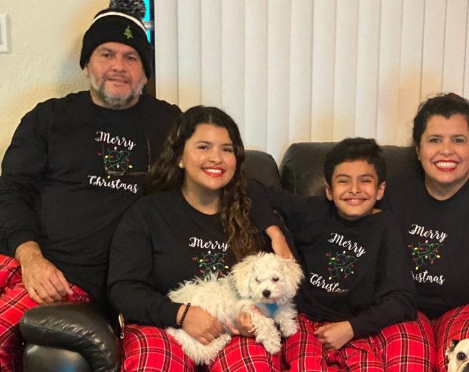 Merry Christmas Sweatshirt, Unisex Embroidered Sweatshirt, Christmas Gift, Black Crewneck Sweater, Christmas Sweatshirt Gift for Christmas